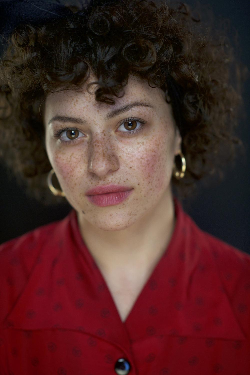 A studio portrait headshot of Alia Shawkat.  Image by New Orleans based portrait photographer, Marc Pagani