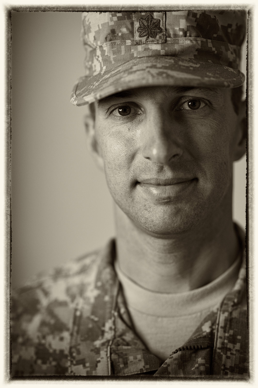 A New Orleans studio portrait headshot of an American soldier.  Image by New Orleans based portrait photographer, Marc Pagani