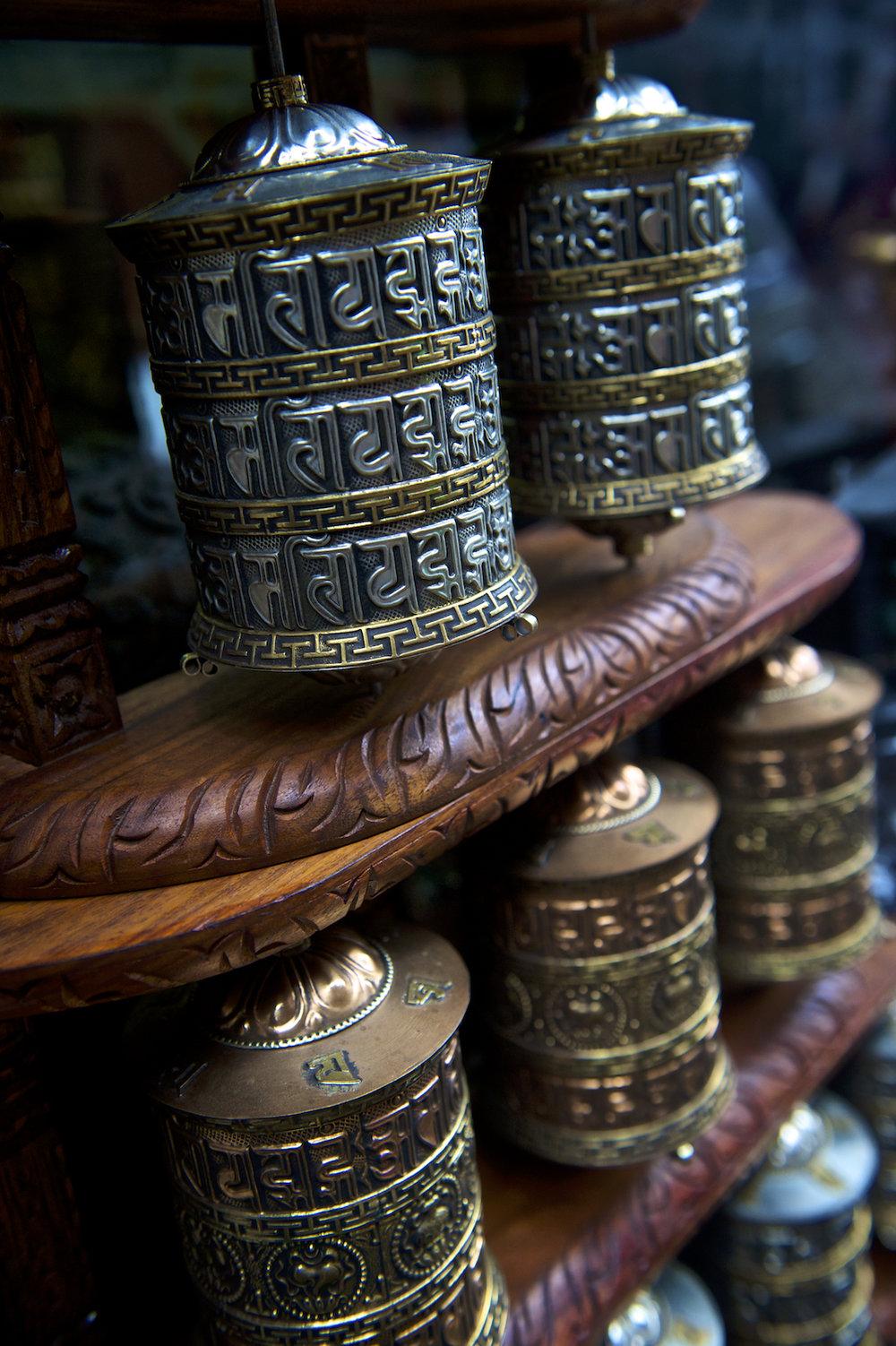 Buddhist prayer wheels in Kathmandu, Nepal. Image by New Orleans based travel photographer, Marc Pagani - marcpagani.com