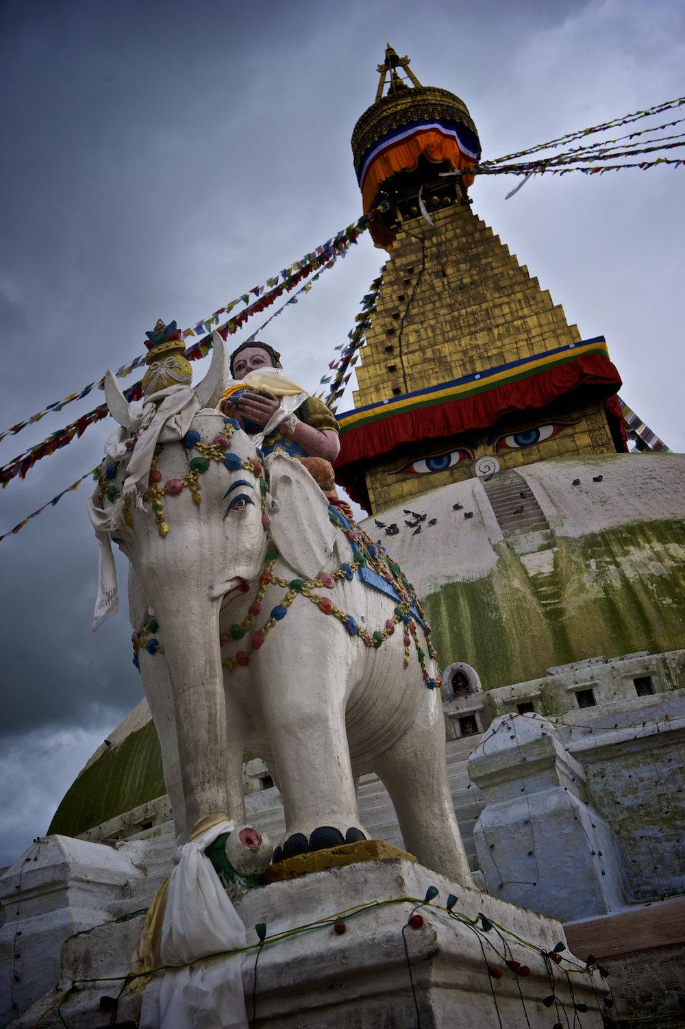 Bhoudanath Temple Stupa in Kathmandu, Nepal.  Image by New Orleans based travel photographer, Marc Pagani - marcpagani.com