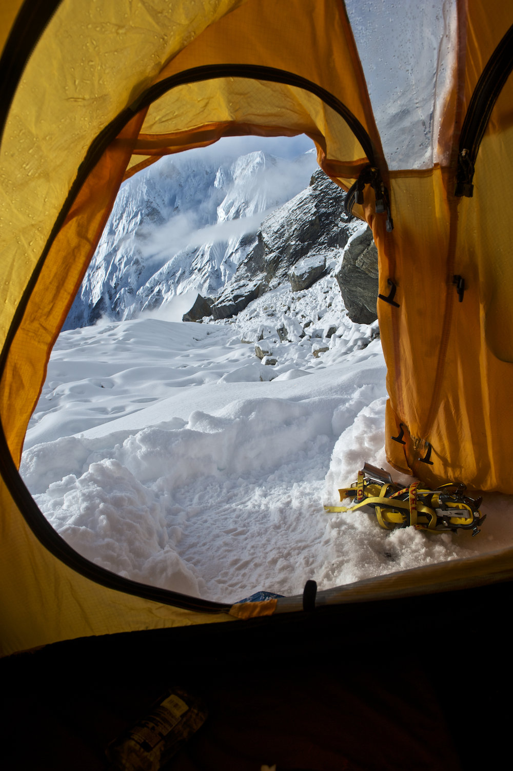 the view of the Nepal Himalayas from a North Face tent.  Image by New Orleans based travel photographer, Marc Pagani - marcpagani.com