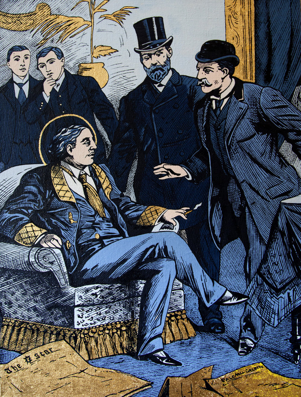 McDermott & McGough, Arrest of Oscar Wilde at the Cadogan Hotel, Oil and Gold Leaf on Linen, 2017 (Courtesy of the Artists)
