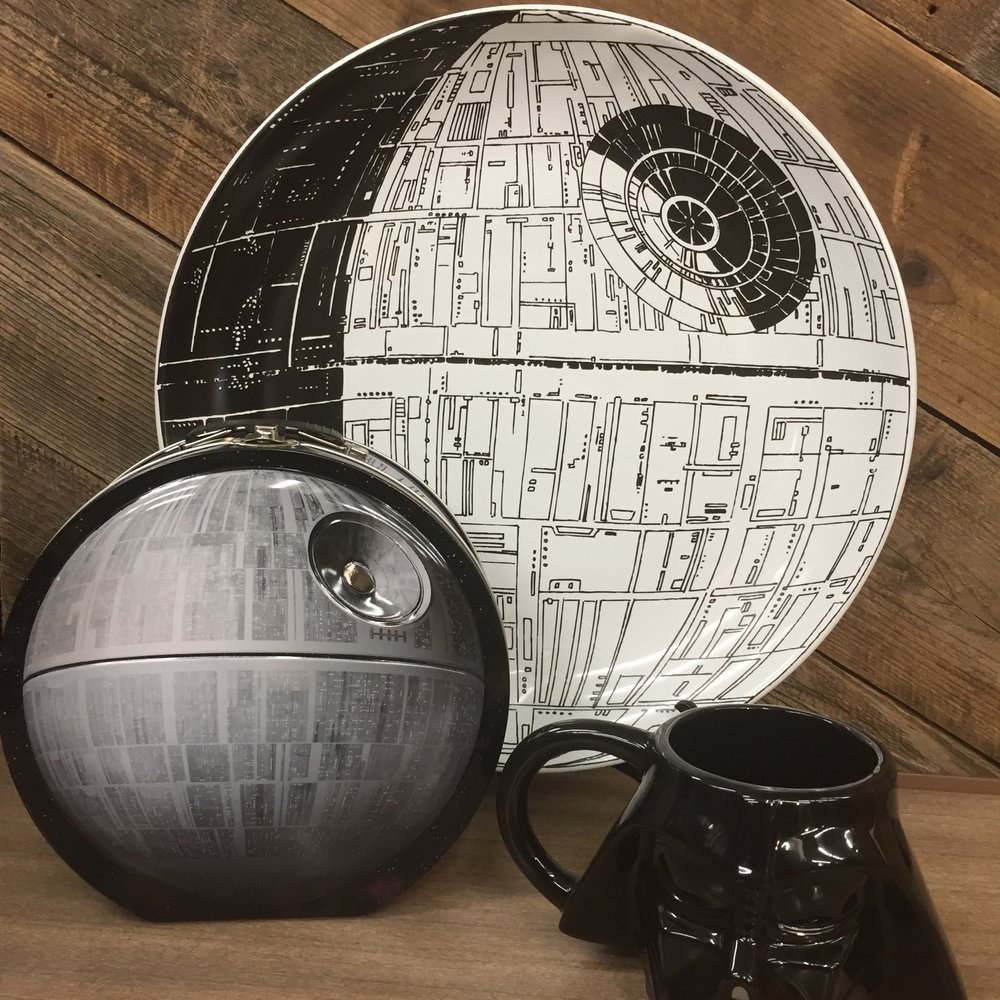 NEW Death Star Serving Platter, $59.50,  Death Star Lunchbox, $15.  Darth Vader Sculpted Mug, $19.50