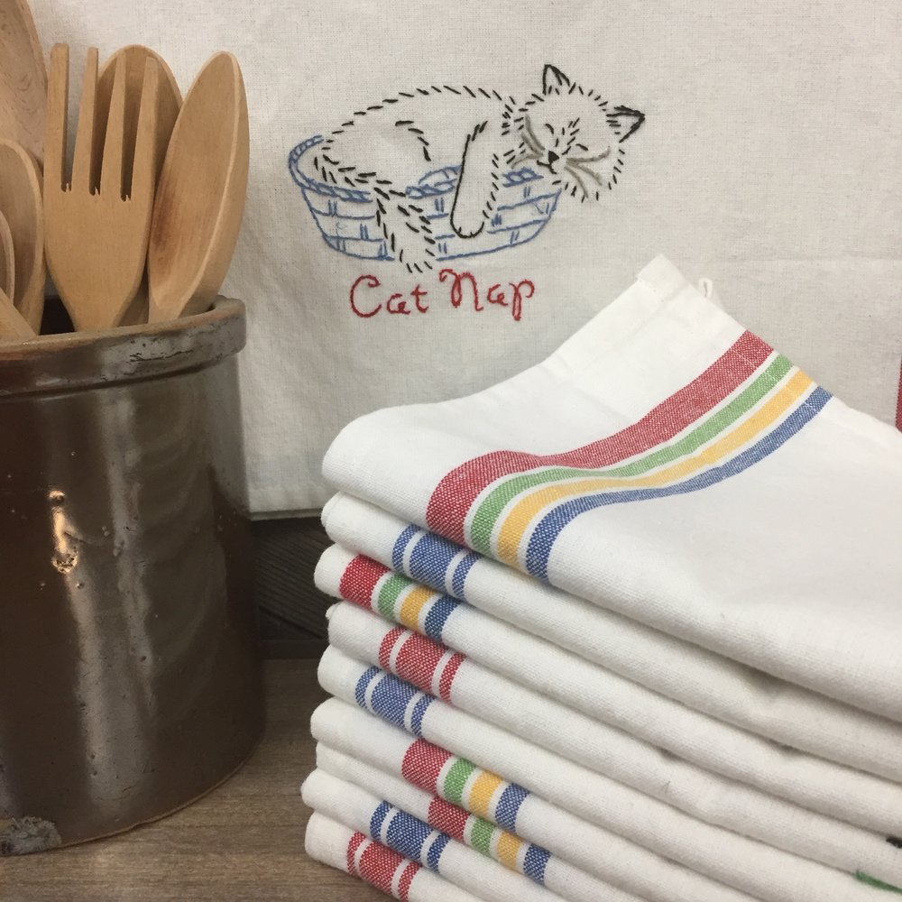 Hand-embroidered Dish Towels, $18 each