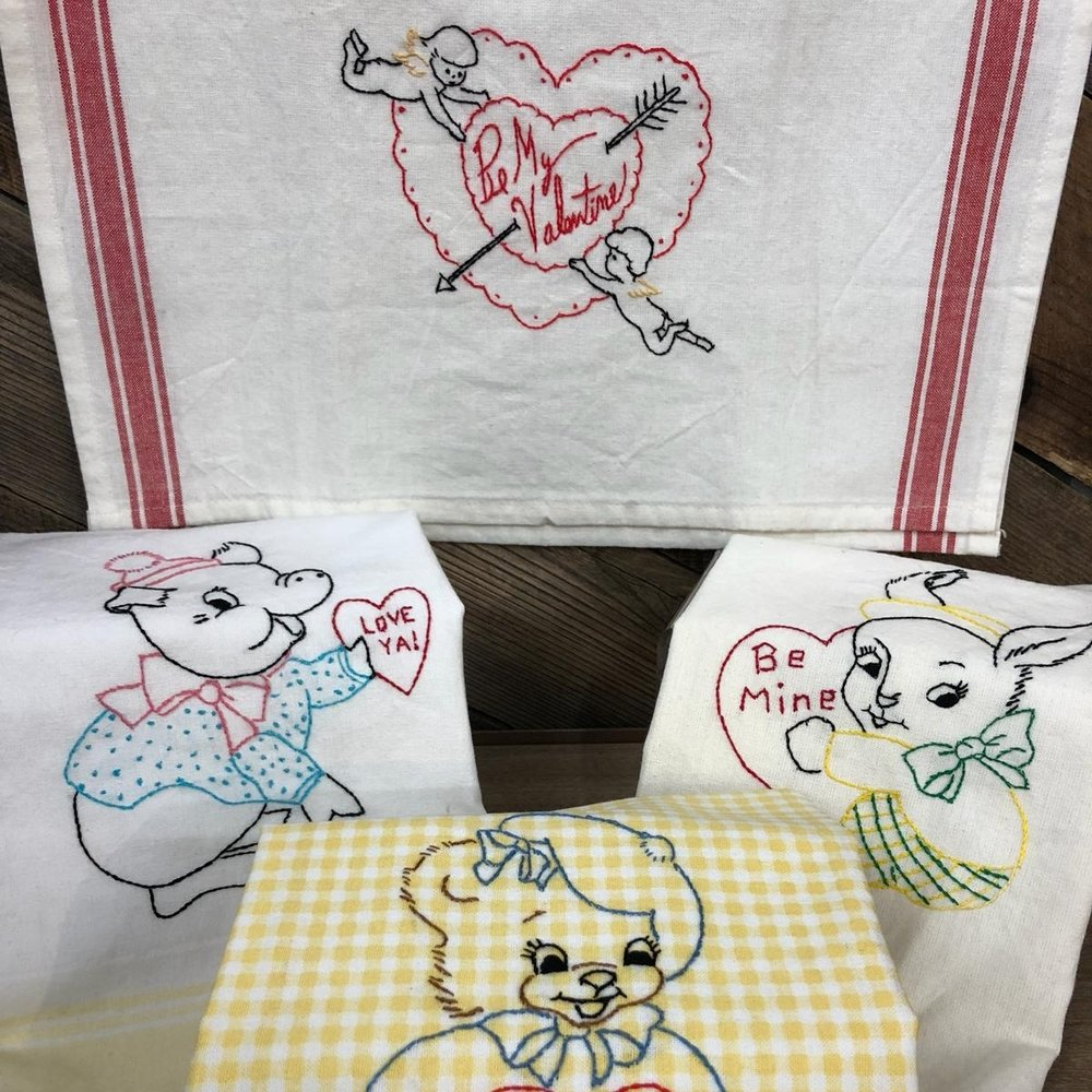 Hand Embroidered Dish Towels, $18 each
