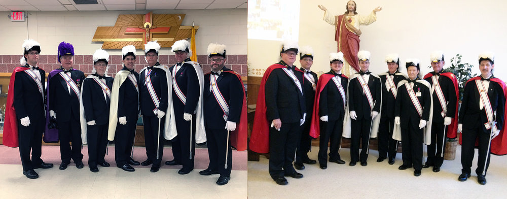 The Tomko Assembly Color Corps with split duty at two Blue Masses at two different churches at the same time. The Blue Masses remembers 9-11 and honors our local First Responders.