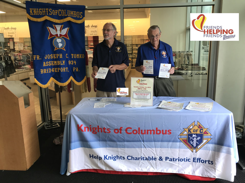 "The Assembly with their continued efforts to raise funds to support CHARTITABE and PATRIOTIC efforts. 'God bless John and Don. This was a fund raiser at Boscov's called ""Friends helping Friends""."