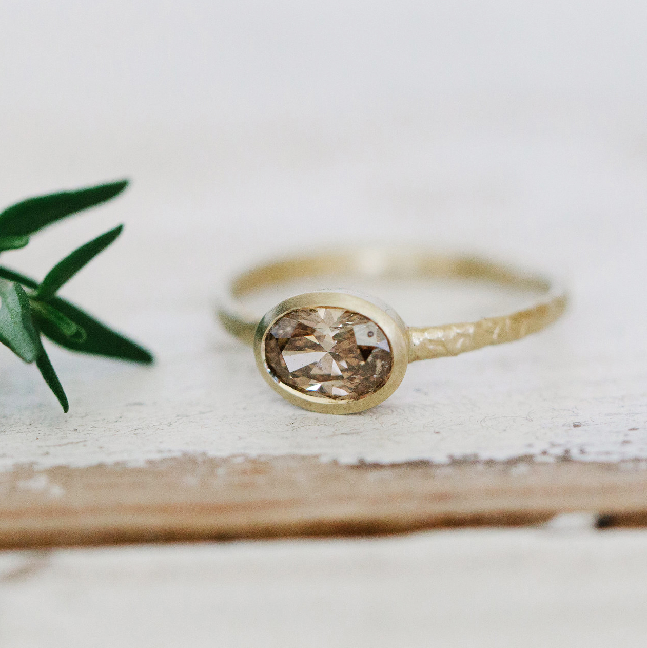 Catkin Oval Champagne Diamond Solitaire Ring Alison Macleod Jewellery