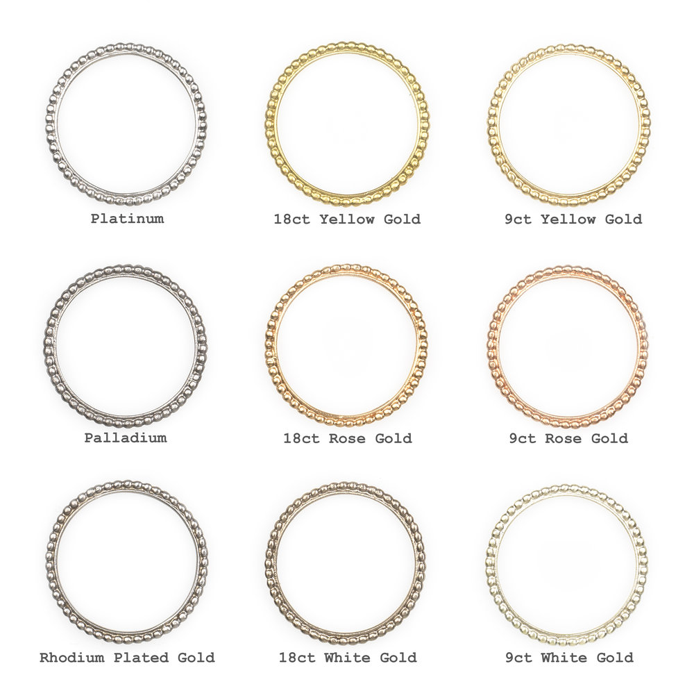 Metal Colour Chart - My jewellery is available in 9 carat (ct) yellow, white and rose gold, 18ct yellow, white and rose gold, platinum and palladium.