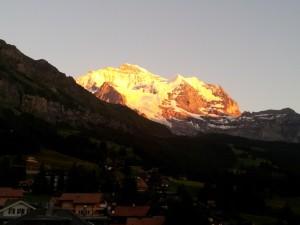 Jungfrau dusk from hotel balcony