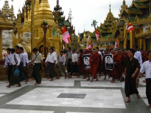 Monk protests