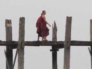 Monks on U Bein bridge (photo by Maia Coen)
