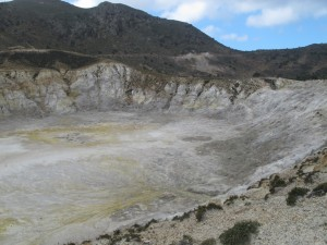 "Nisyros' ""smaller"" volcanic crater"