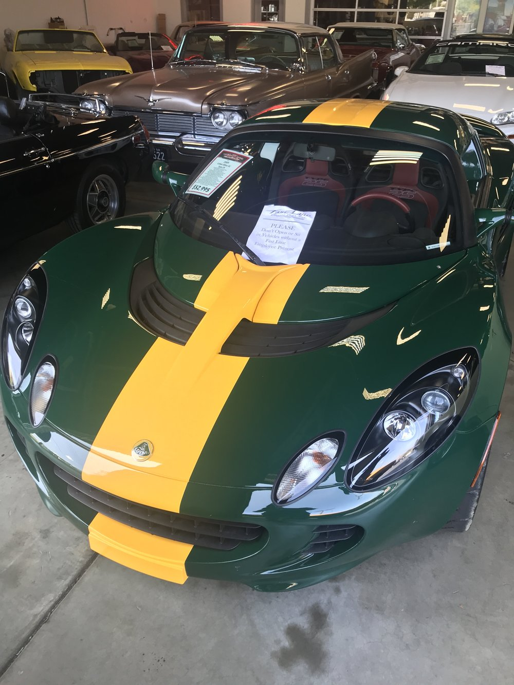 A 2009 Lotus is one of many foreign wonders inside Fast Lane Classic Cars.