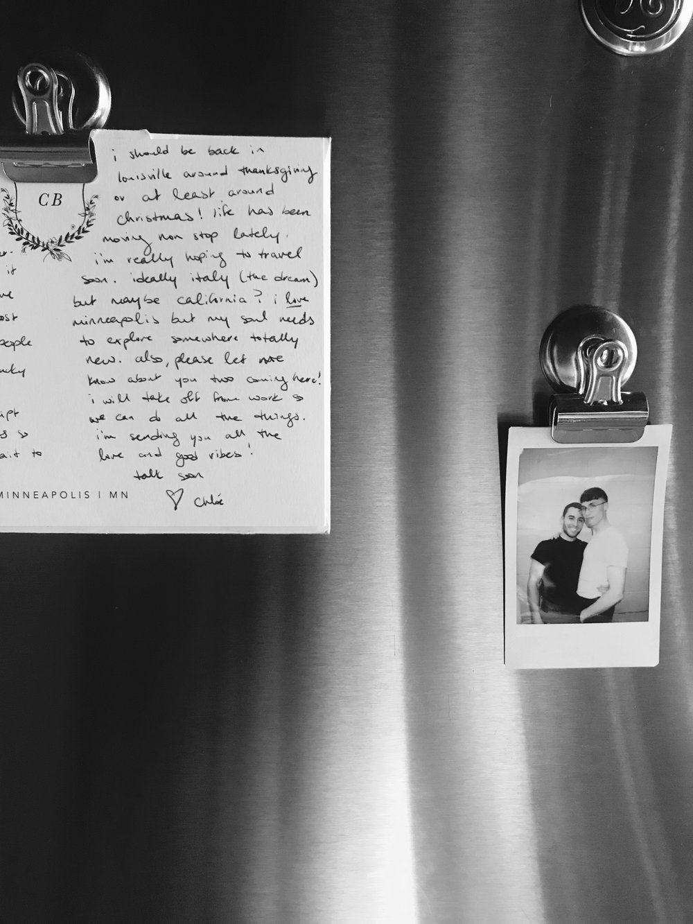 Our very bare fridge is slowly getting more personal.