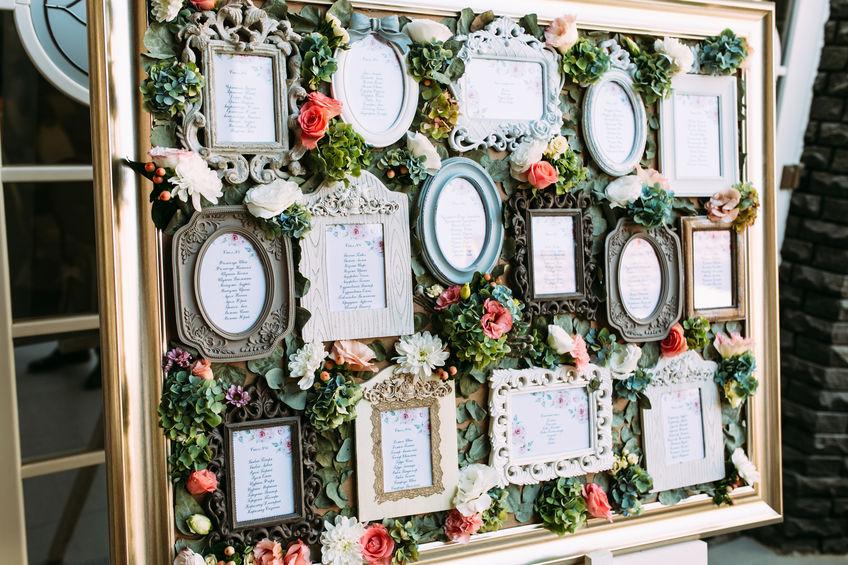 Wedding seating plan in vintage frames