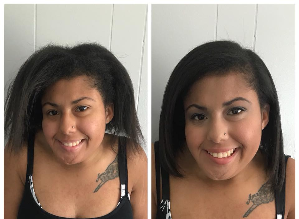 - The power of HYDRATION! We washed twice with the new 💧Advanced Hydrating Shampoo, then used the 💧Heavenly Hydrating Masque (left on for 10 mins), and finished up with the 💧Advanced Hydrating Conditioner.We used a pea-size drop of 🔹Blow Out Cream +🔹Restore Leave-In Conditioner on her damp hair, blow dried with a paddle brush, straightened, then finished off with one drop of 🔹Rejuveniqe Oil Intensive.She has a few inches of her natural texture then relaxed ends (as she is growing out her relaxer). Her hair was straightened in the first photo, as well.