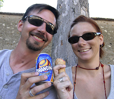 Enjoying Gelato and Orangina in Chartres France 2006