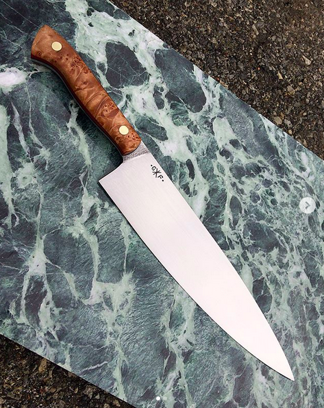 Chefs knife with a stabilized maple burl
