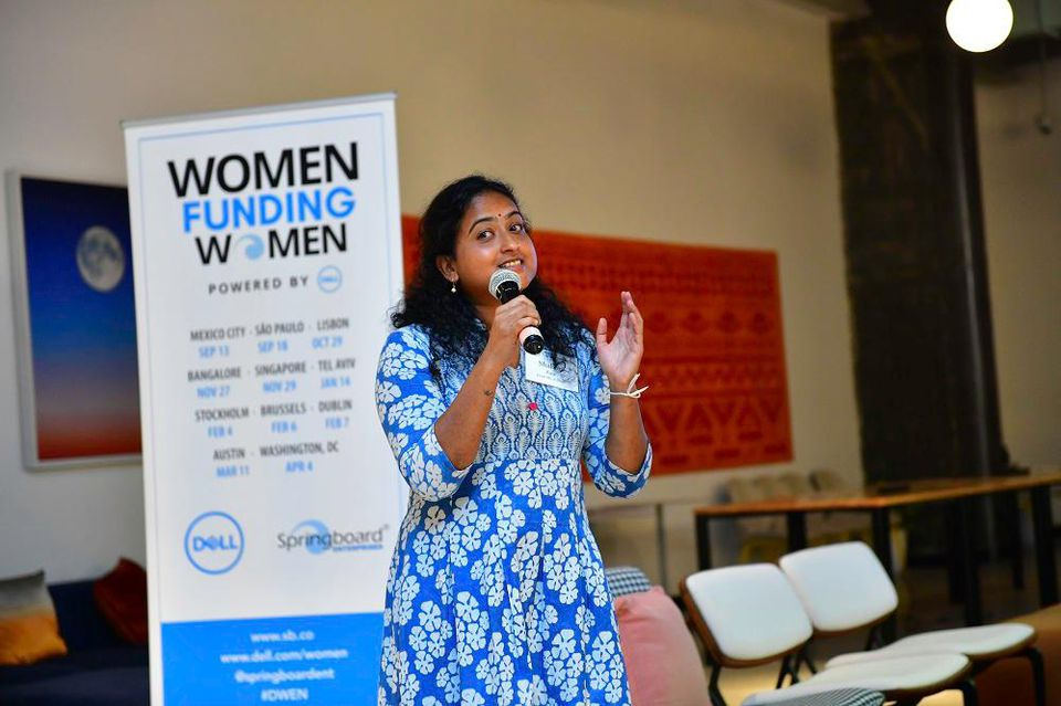 Shabari Raje of Find Me a Shoe at Dell Springboard Women Funding Women event SPRINGBOARD