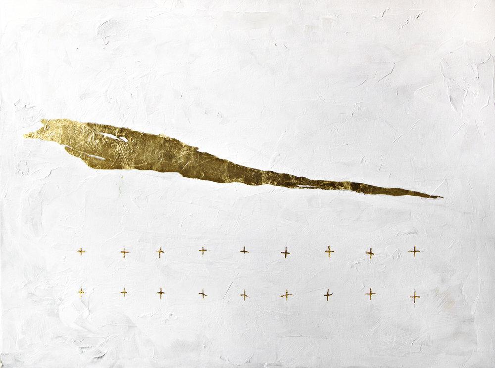 """One  23K gold leaf & acrylic on canvas  36""""x48""""  2018"""