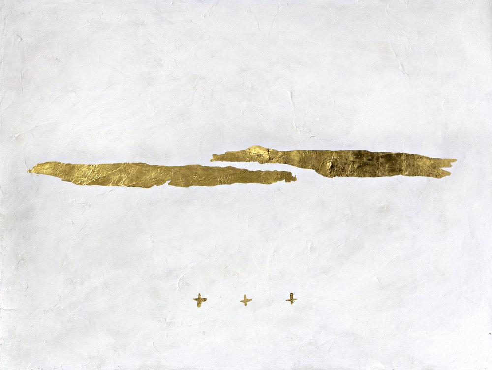 "Two  23K gold leaf & acrylic on canvas  36""x48""  2018"