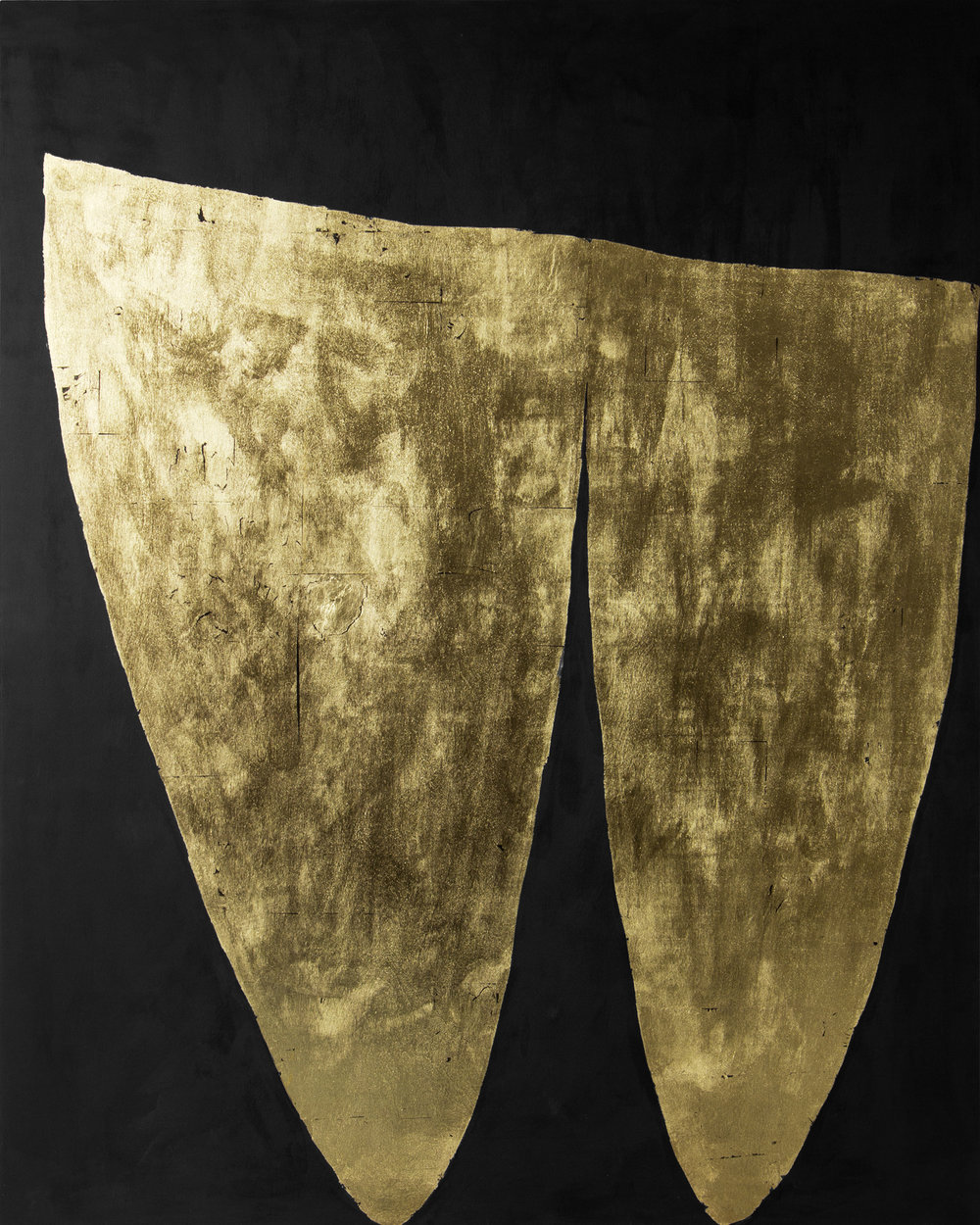 "Cleave  23K gold leaf & acrylic on panel  60""x 48""  2018"
