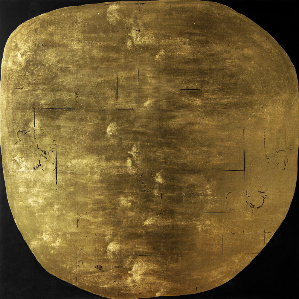 "Round  23K gold leaf & acrylic on panel  48""x 48""  2018"