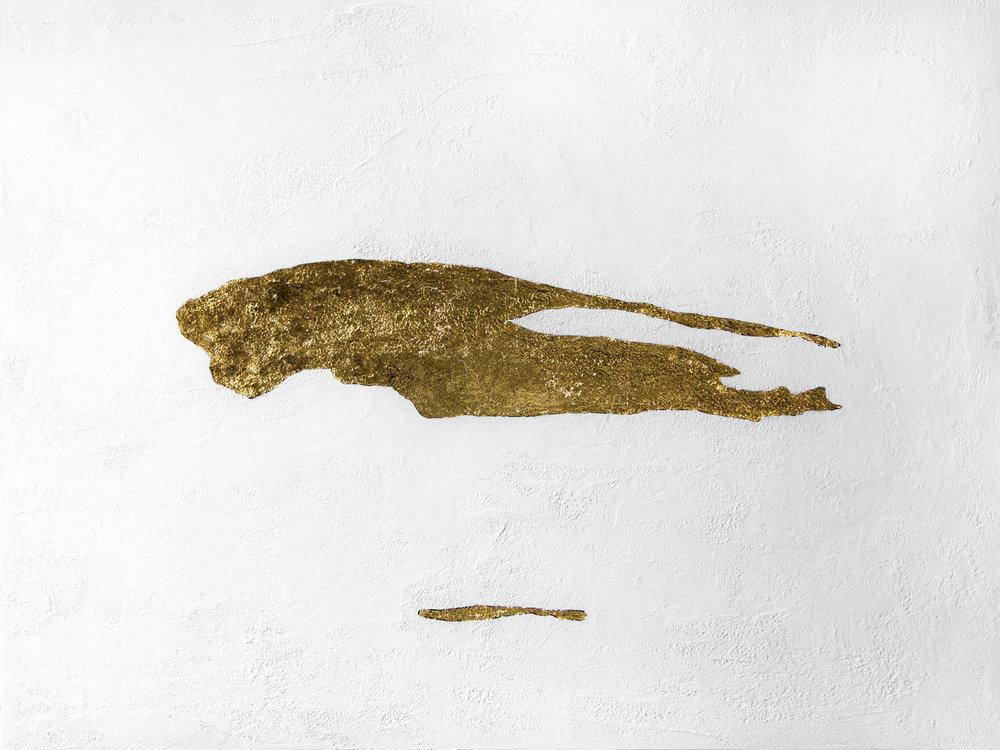 "Three  23K gold leaf, acrylic, & fiber paste on canvas  36""x48""  2018"