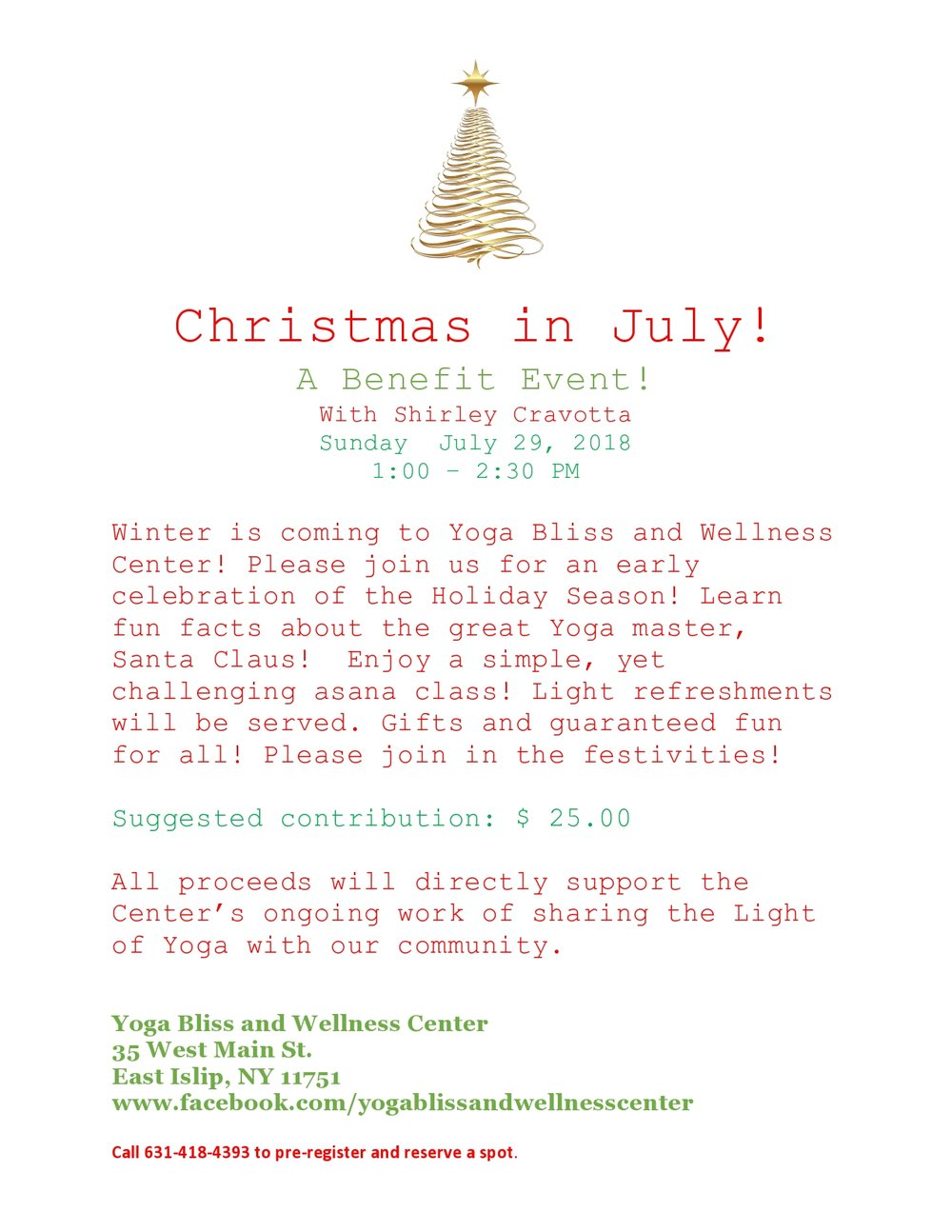 Christmas In July — YOGA BLISS & WELLNESS CENTER