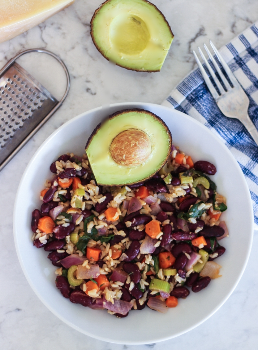 Rice and beans with extra vegetables and avocado