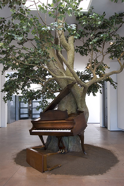 Blossom, 2007 Steel, Zoopoxy, silk leaves, piano with MIDI system, piano bench, dirt 144 x 216 x 180 inches 365.8 x 548.6 x 457.2 cm  Courtesy of the artist and Marianne Boesky Gallery, New York and Aspen. ©Sanford Biggers.