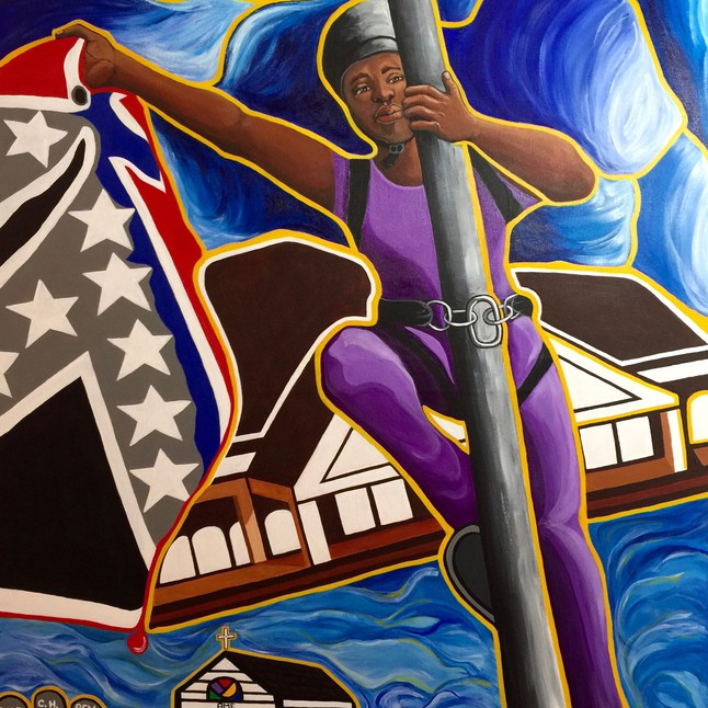 Bree Newsome and the South Carolina Nine © Adrienne La Faye, used with permission of the artist.