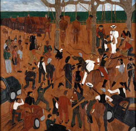 The Lynching, 1999. Triptych: Dye on tooled and carved leather © Winfred Rembert, courtesy of Adelson Galleries.