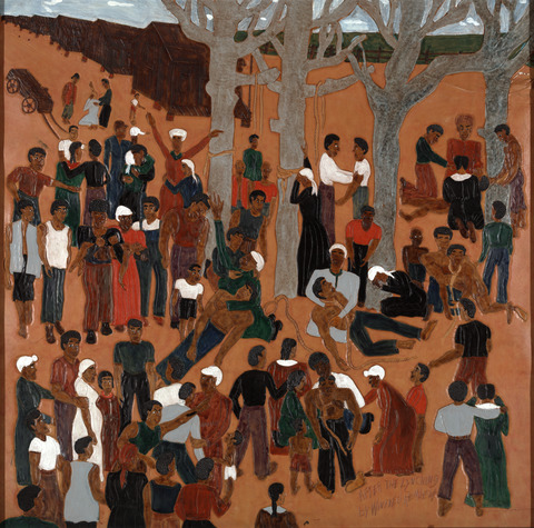 After the Lynching, 1999. Triptych: Dye on tooled and carved leather © Winfred Rembert, courtesy of Adelson Galleries.