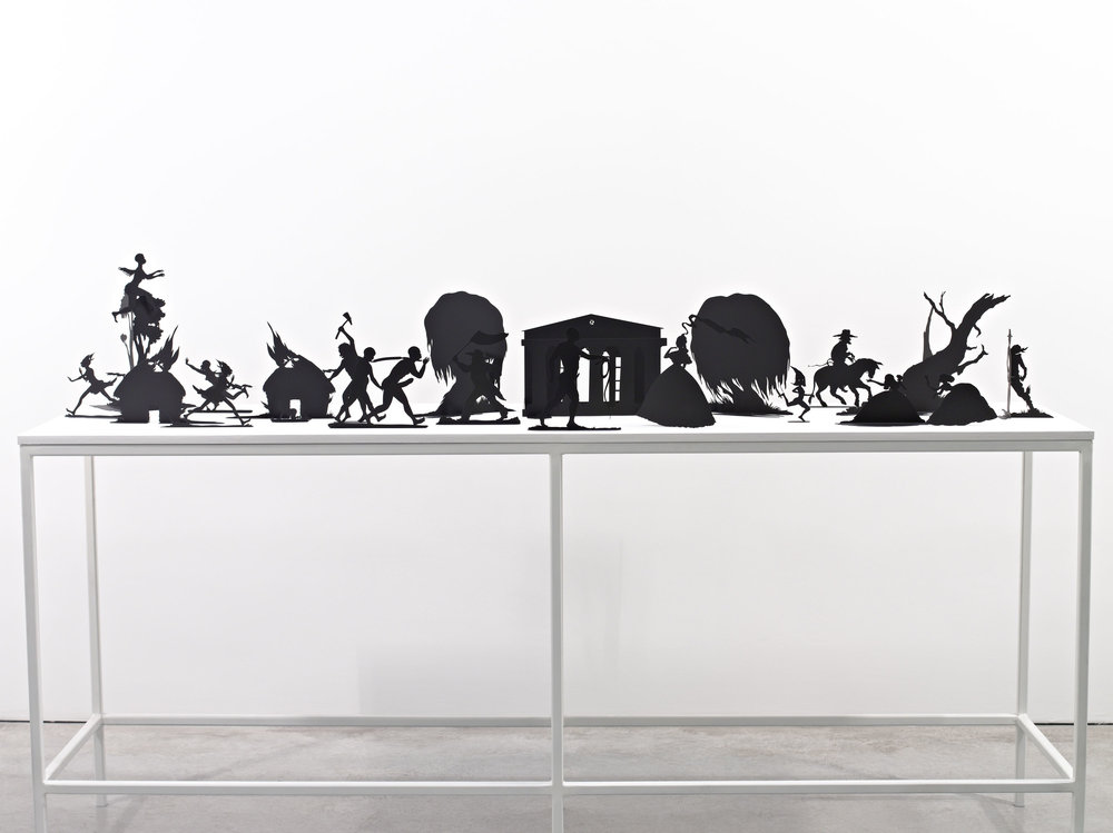 Burning African Village Play Set with Big House and Lynching, 2006. Painted laser cut steel, 22 parts, dimensions variable © Kara Walker. Image courtesy of Sikkema Jenkin & Co., New York.