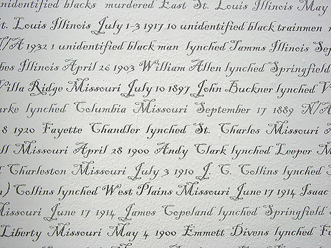 Wallpaper detail comprised of names of lynched individuals © LaShawnda Crowe Storm, used with permission of the artist.
