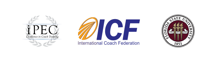 iPec Excellence in Coach Training Seal, International Coach Federation seal, Florida State University Seal