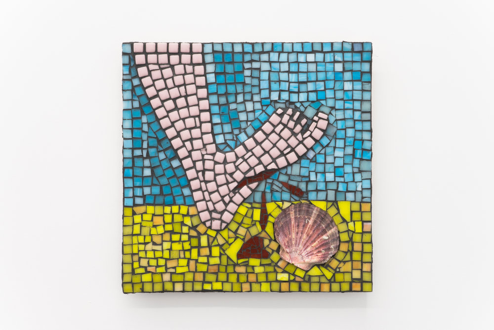 Grace Pickford,  Happy Day Becomes Sad , glass tile mosaic & sea shell, 295mm x 295mm, 2017