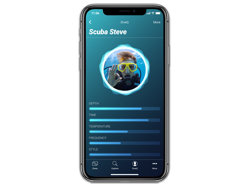 DISCOVER YOUR DIVEQ - Whether you scuba or free dive, MAZU learns your style. The more you use MAZU, the more it learns your personal brand of diving, creating your unique diver profile - your DiveQ.