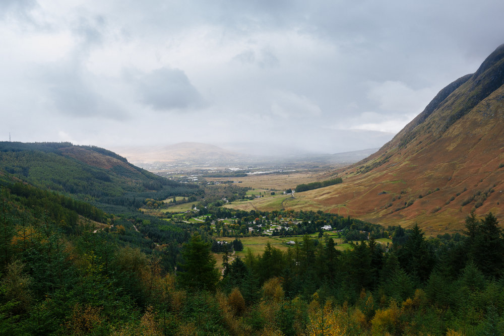 Looking down on Fort William from Glen Nevis
