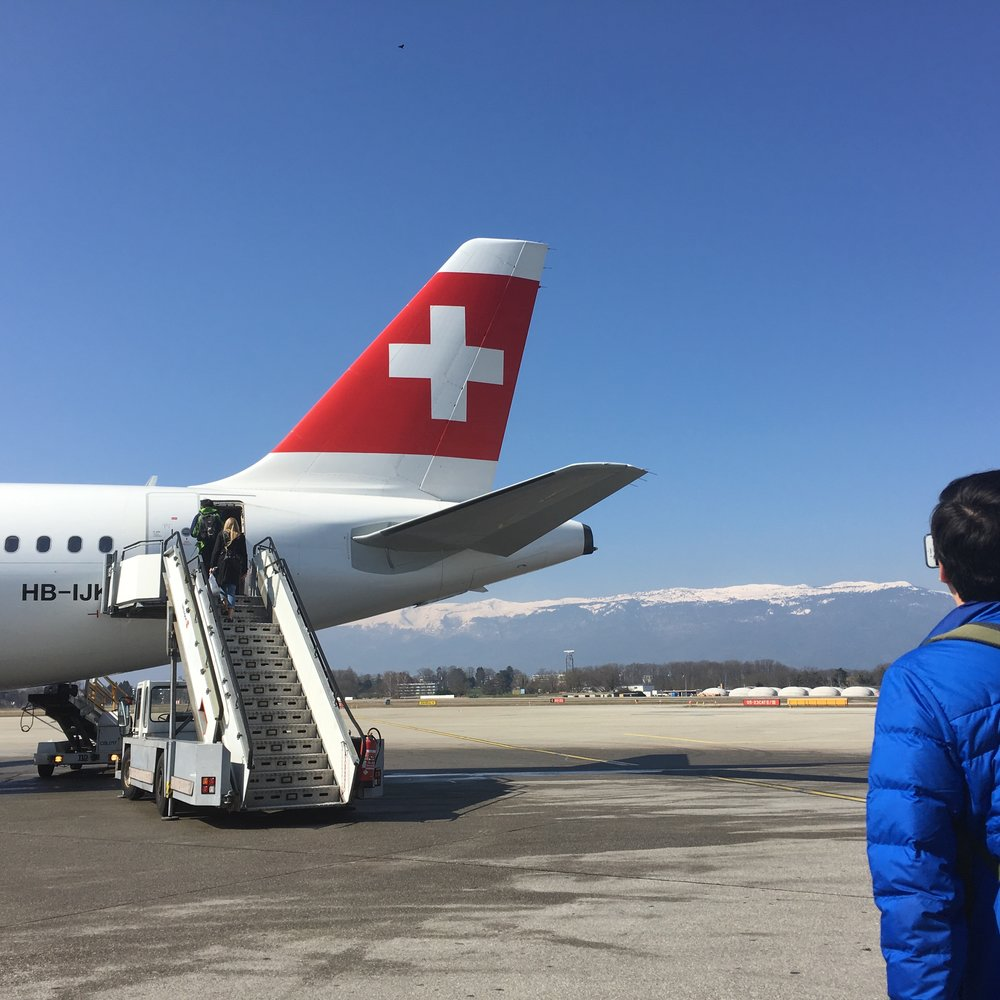 Walk to the plane with a view of the Swiss Alps- Zurich, Switzerland