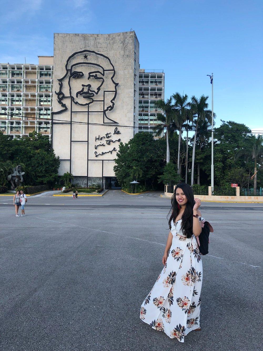 In front of the Che Guevara face in  Plaza de la Revolucion
