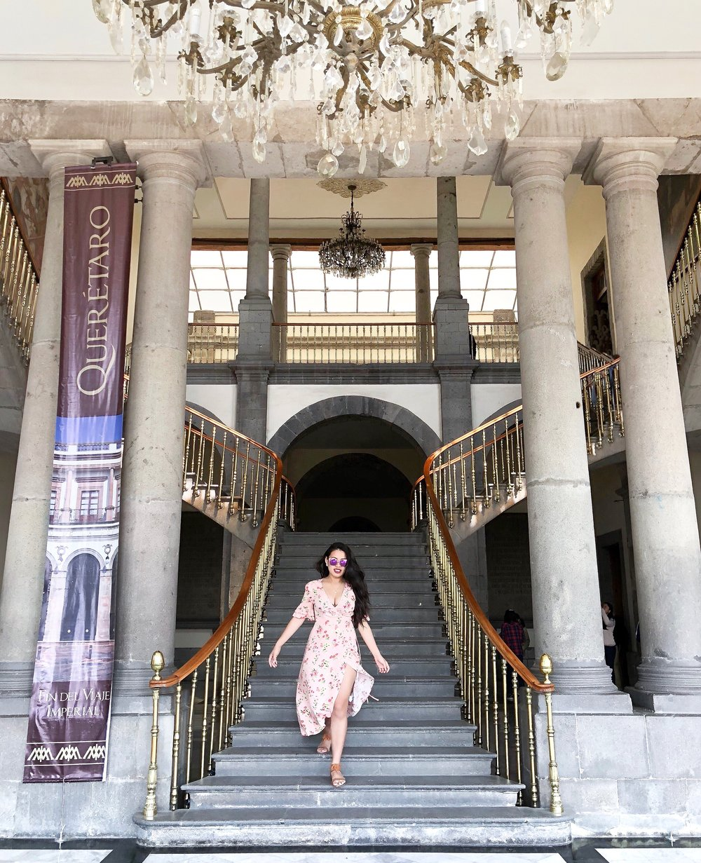 Me being the extra person I am getting a picture in the Castillo's Grand Staircase