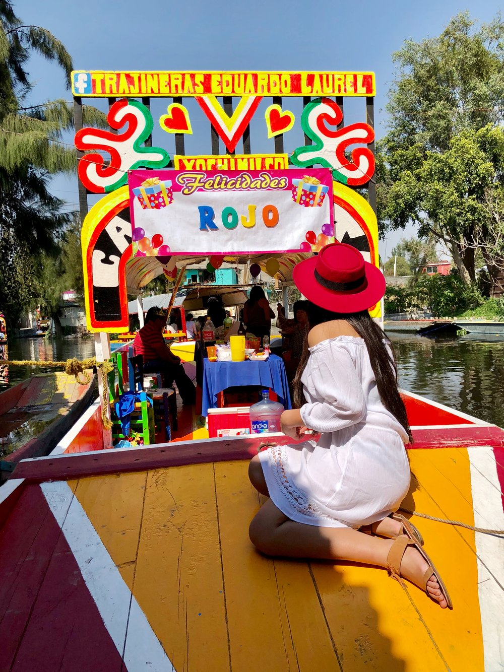 Scored a  trajinera (wooden boat) of our own in the canals of Xochimilco