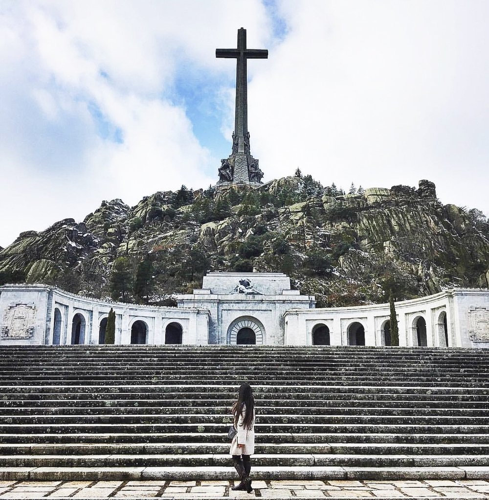 The larger than life cross that sits on top of the Basilica at Valle de Los Caidos [Valle de Los Caidos, Spain]