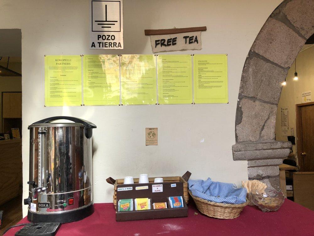 Free Coca Tea to combat altitude sickness at Kokopelli Hostel (Cusco, Peru)