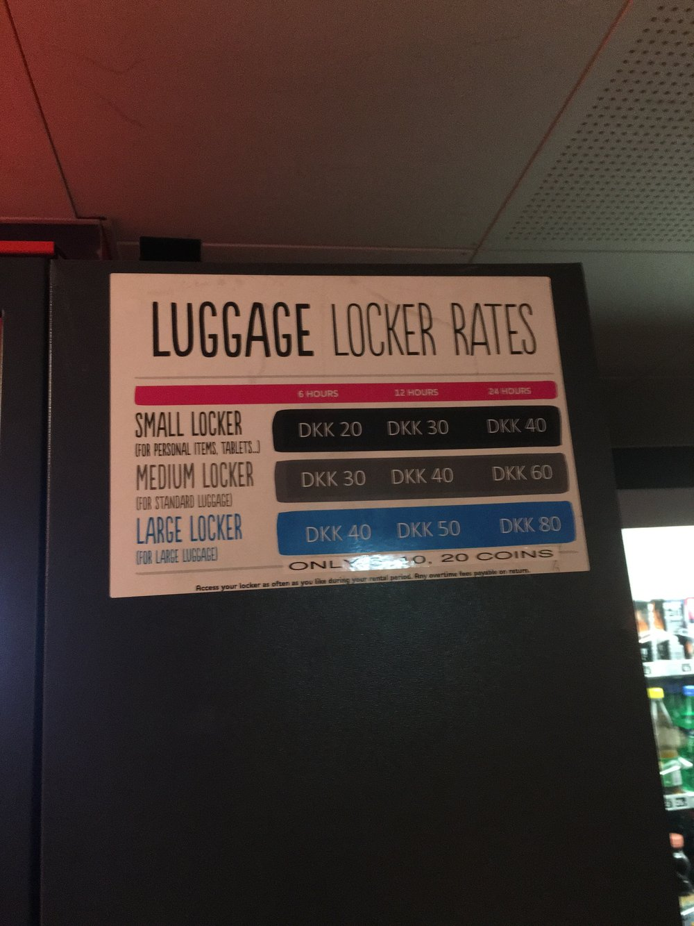 Luggage lockers for guests who have checked out but want to still explore the city (Copenhagen, Denmark)