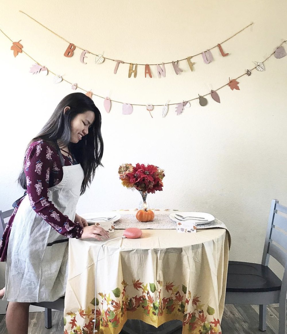 For this Thanksgiving campaign, I had to buy a table cloth, a vase, fake flowers and a fall themed dress to take this picture
