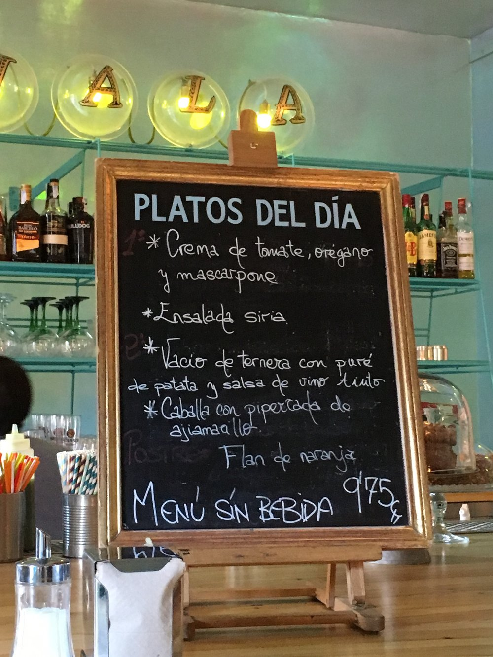 An example of what is included in a  Menu del Día oferta